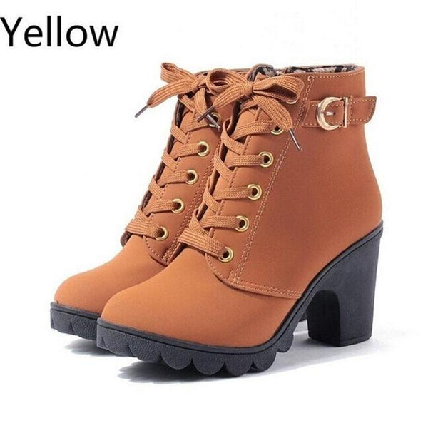 Autumn Winter Women's High Quality Solid Lace-Up Synthetic Leather Boots - SolaceConnect.com