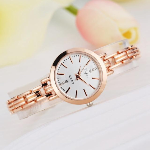 Fashion Women's Stainless Steel Quartz Dress Watch in Gold & Silver Color - SolaceConnect.com