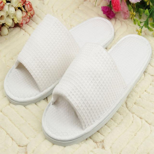 Unisex Pure White SPA Open Toe Disposable Cotton Hotel Slippers - SolaceConnect.com