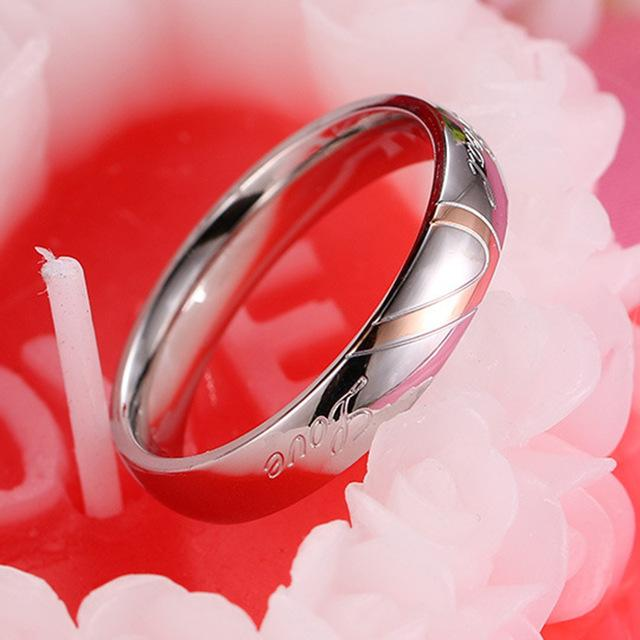 Stainless Steel Heart Alliance Silver Color Couple Ring for Men and Women - SolaceConnect.com