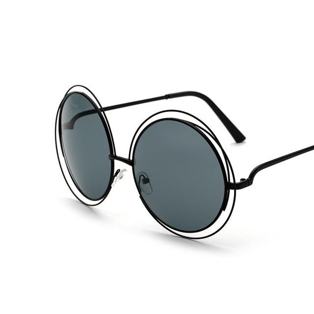 Women's Oversized Vintage Round Luxury Designer Sunglasses with Mirror Lens - SolaceConnect.com