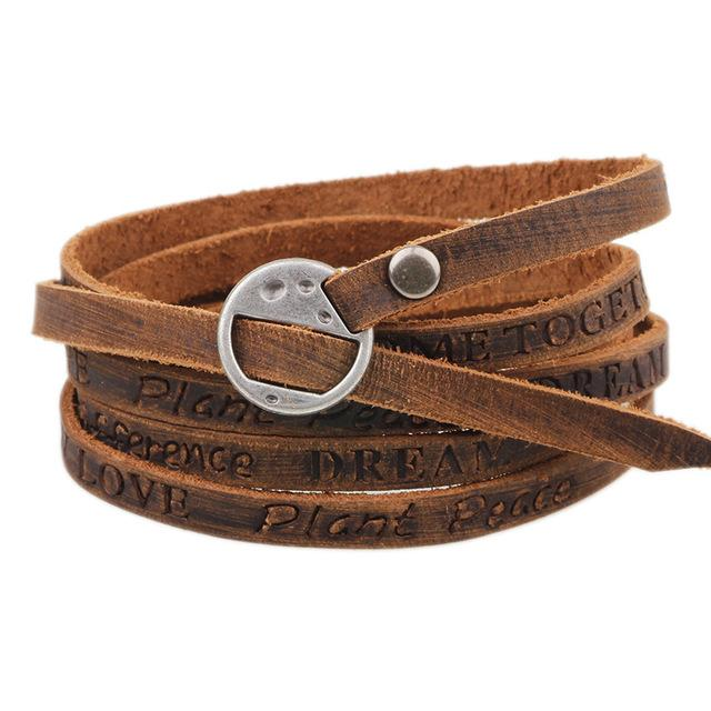 Fashion Brown Leather Leisure Retro Multi-Layer Classic Unisex Bracelet - SolaceConnect.com