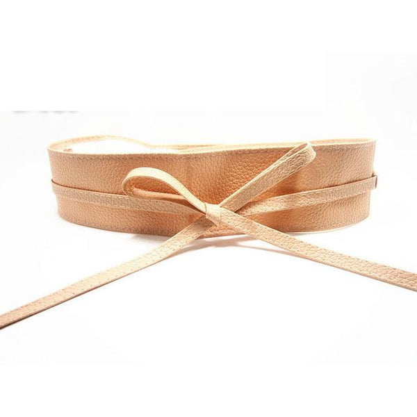 Soft Leather Wide Self Tie Wrap Around Waist Band Belt for Women & Girls - SolaceConnect.com