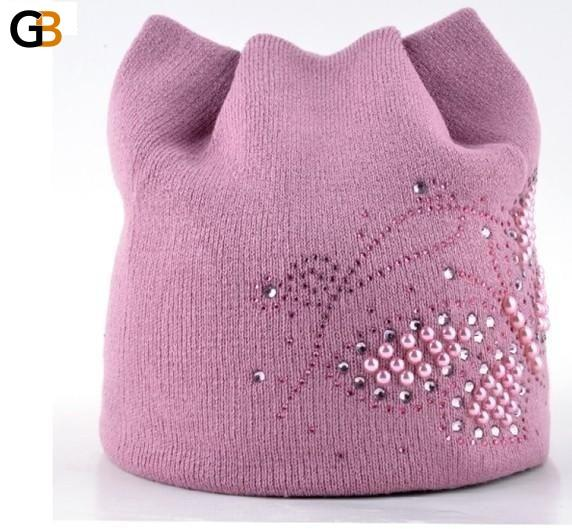 Winter Cat Knit Pearls Butterfly Diamond Beanie Hat for Women - SolaceConnect.com