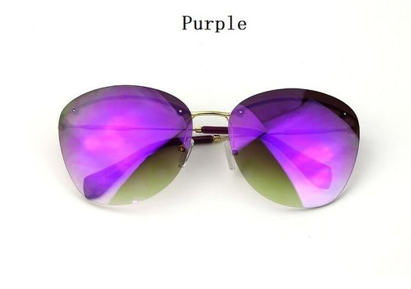 Fashion Vintage Rimless Designer Sunglasses with Coating for Women - SolaceConnect.com