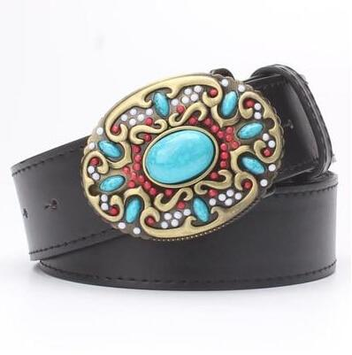 Fashionable Cowskin Leather Belts with Turquoise Stones for Women - SolaceConnect.com