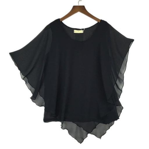 16 Colors Plus Size S- 5XL 6XL Ladies Chiffon Batwing Sleeve Blouse Tops - SolaceConnect.com