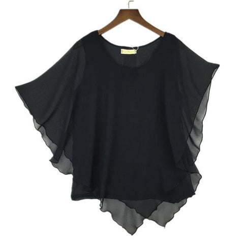 16 Color Plus size S- 5XL 6XL Ladies Chiffon Blouses chiffon shirts blusas,Batwing sleeve tops