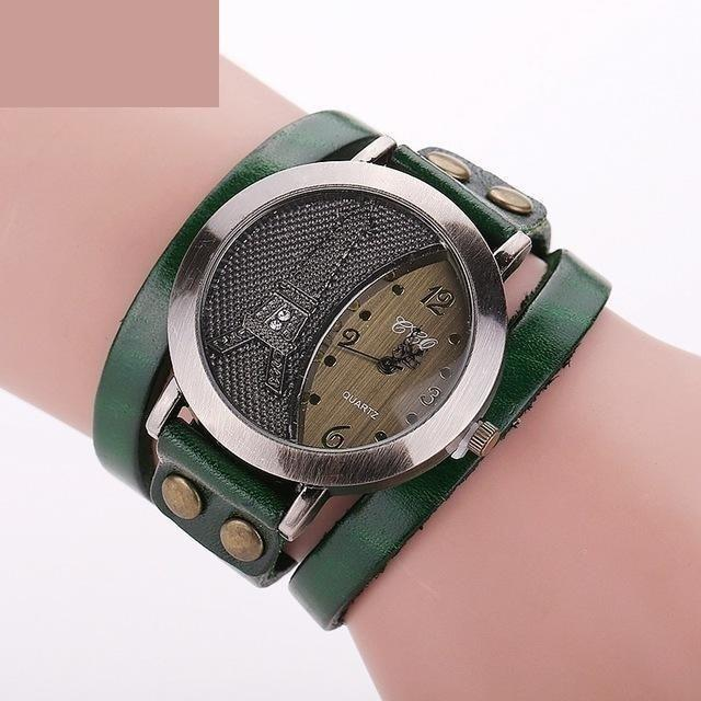 Vintage Casual Tower Genuine Leather Bracelet Watches for Women - SolaceConnect.com