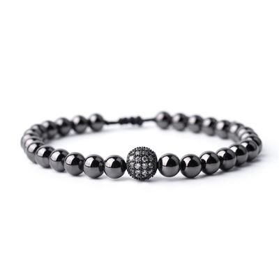Men & Women Beaded Cubic Zirconia Stone Pave Setting Braided Bracelet - SolaceConnect.com