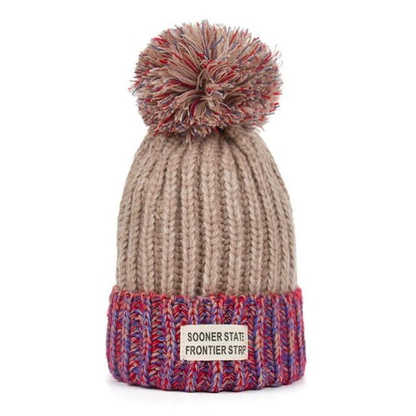 Fashion Winter Knitting Hat with Pompom Patchwork Beanie for Women - SolaceConnect.com