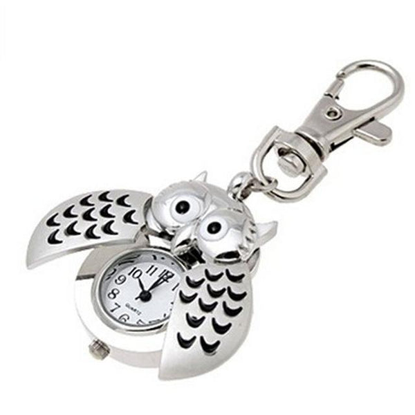 Excellent Design Womens Mini Metal Key Ring Owl Double Open Quartz Watch Clock- Silver For - SolaceConnect.com
