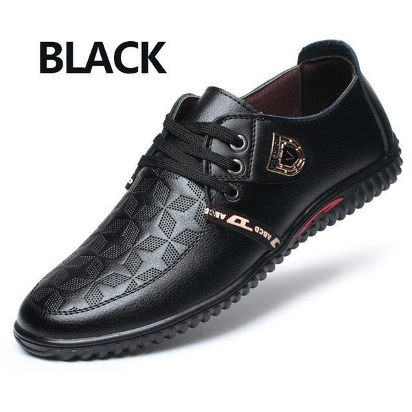 Men's Casual Lace Up Soft Breathable Flat Leather Shoes in Black - SolaceConnect.com