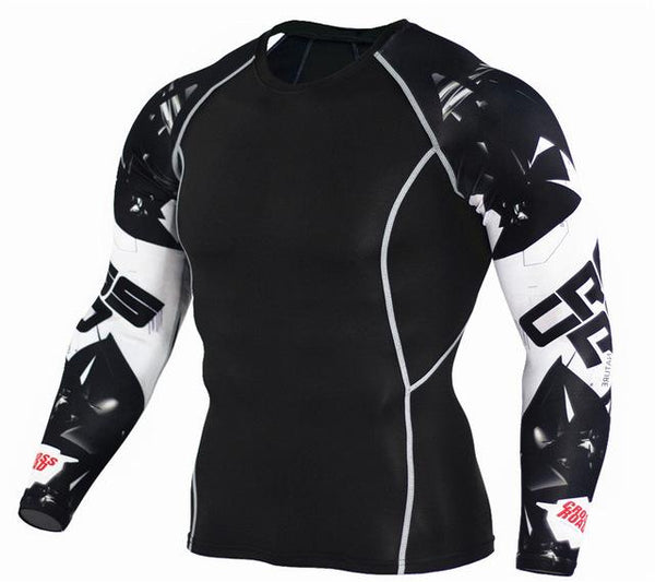 Men's 3D Print Long Sleeves Skin Tight Thermal Compression Fitness T-Shirt - SolaceConnect.com