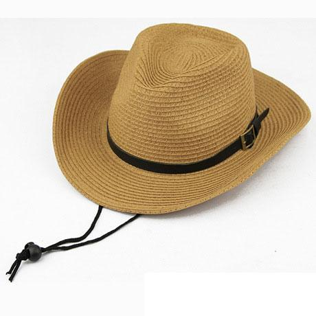 Western American Straw Braided Men's Cowboy Hats with Buckle - SolaceConnect.com