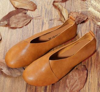 Flexible Genuine Leather Hand-Sewn Loafers Flat Casual Shoes for Woman - SolaceConnect.com