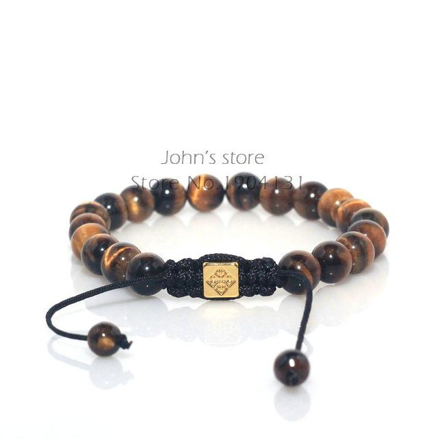 Natural Stone Tiger Eye Beaded Braided Shamballa Bracelet for Men - SolaceConnect.com