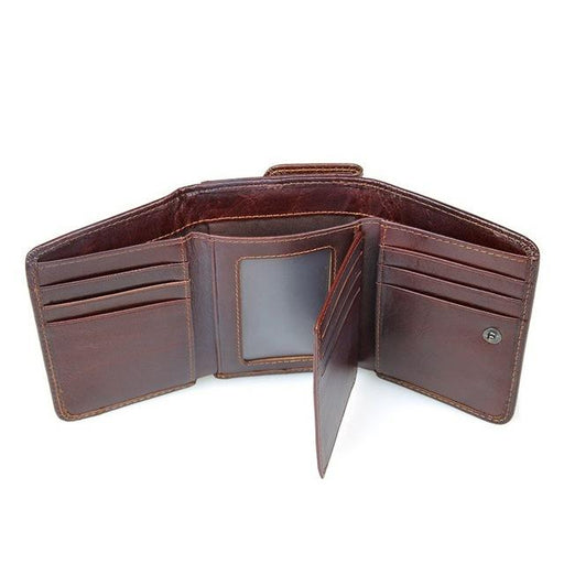 RFID Wallet Antitheft Scanning Leather Wallet Hasp Leisure Men's Slim Leather Mini Wallet Case - SolaceConnect.com