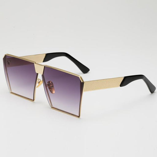 Designer Chic Geometric Shaped Silver Metal Frame Color Mirrored Lens Sunglasses