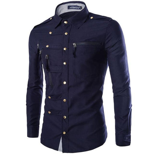 Men's Spring Autumn Long Sleeve Slim Fit Cargo Shirt with Epaulet Pocket - SolaceConnect.com