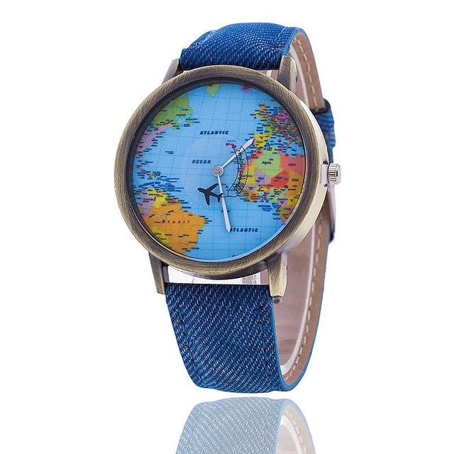 Fashion Global Travel By Plane Map Denim Fabric Band Watch Casual Women Wristwatches Quartz Watch - SolaceConnect.com