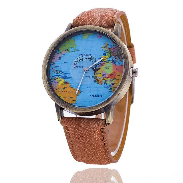 Global Travel by Plane Map Denim Fabric Band Casual Women's Watch - SolaceConnect.com