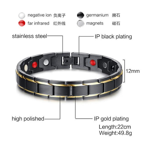 Men's H Power Stainless Steel Magnetic Black Charm Bracelets & Bangles - SolaceConnect.com