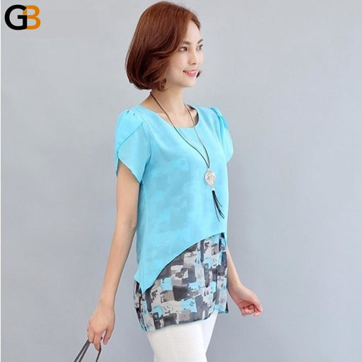 Women's Summer Duo Layer Short Sleeve Printed Chiffon Office Blouse - SolaceConnect.com