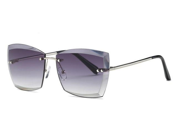 Women's Square Rimless Mirror Lens Sunglasses with Diamond Cutting - SolaceConnect.com