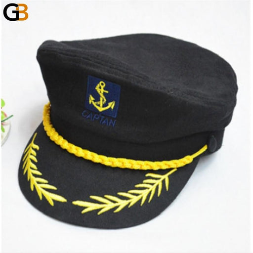 Black White Red Striped Adjustable Military Captain Police Hat Cap - SolaceConnect.com
