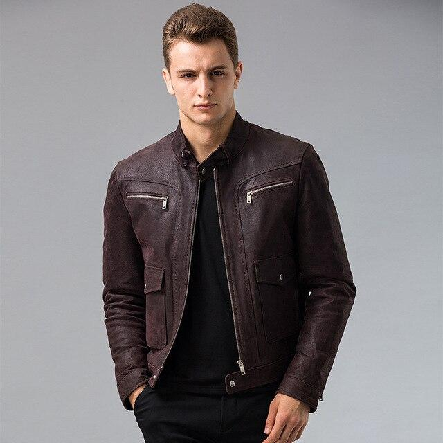Casual Men's Genuine Pigskin Leather S-6XL Big Size Motorcycle Jacket - SolaceConnect.com