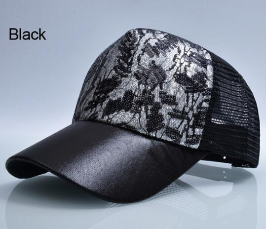 Sequin Flashes 5 Panel Trucker Hip Hop Breathable Mesh Hat for Women - SolaceConnect.com
