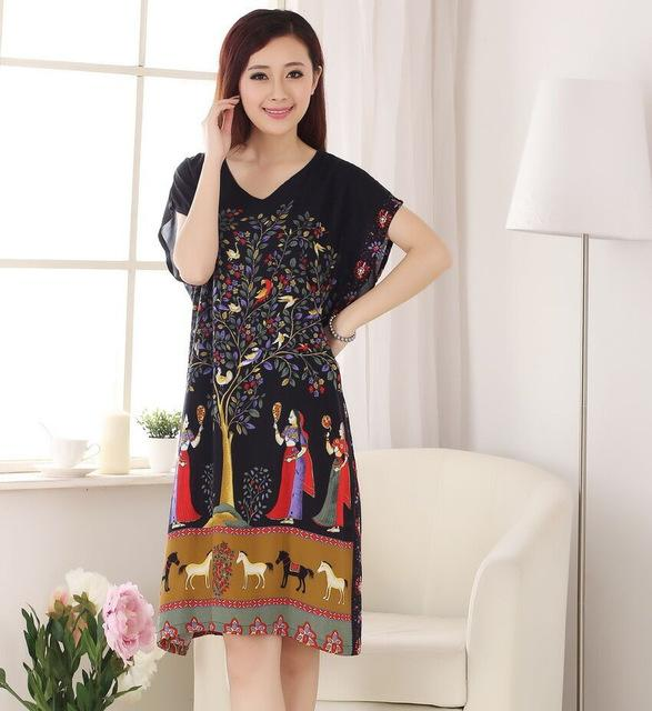 929ac88557 ... Novelty Chinese Women s Cotton Bath Robe Nightgown Lady Summer Printed Night  Gown Nuisette Pijama - SolaceConnect ...