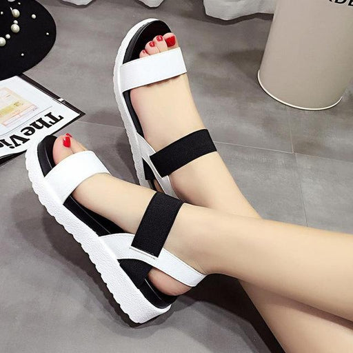 Roman Summer Flat Open Side Vamp Sandals Shoes with Peep-Toe for Women - SolaceConnect.com