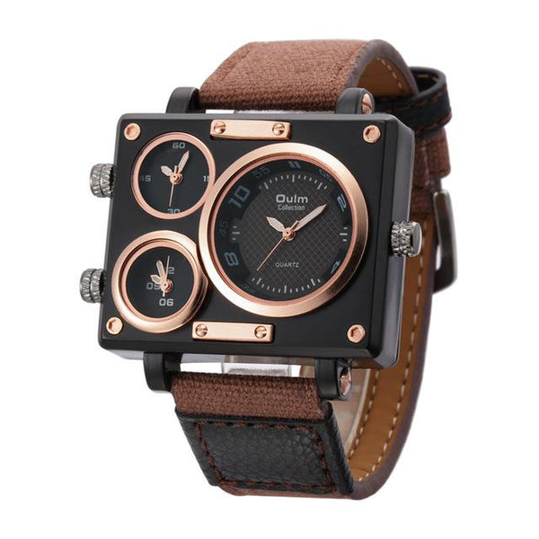 Top Luxury Designer Fabric Strap Square Quartz Watches for Men - SolaceConnect.com