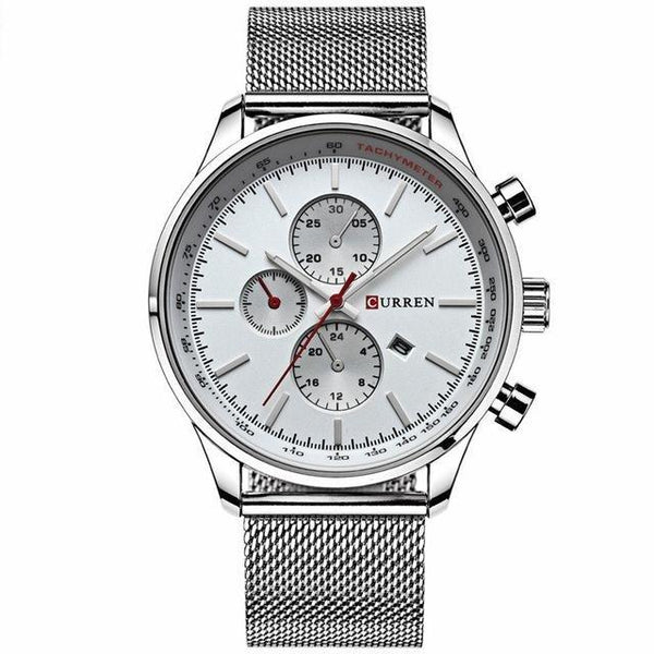 Men's Sport Casual Business Stainless Steel Mesh Band Quartz Wristwatches - SolaceConnect.com
