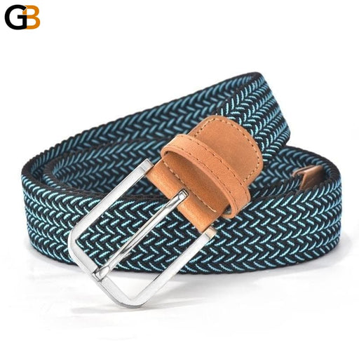 Hot Colors Men Women's Casual Knitted Belt Woven Canvas Elastic Stretch Belt Plain Webbing - SolaceConnect.com