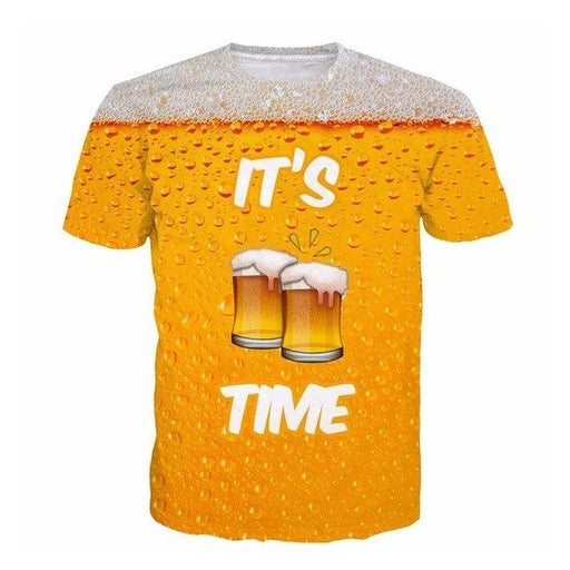 SOSHIRL It's Beer Time 3D T Shirt 3D Print Tops Punk Short Sleeve T-shirt Hip Hop Rock Tops Tees - SolaceConnect.com