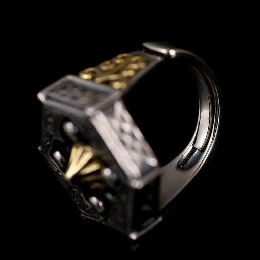 100% 925 Sterling Silver Religious Buddha Hexagon Ring for Men - SolaceConnect.com