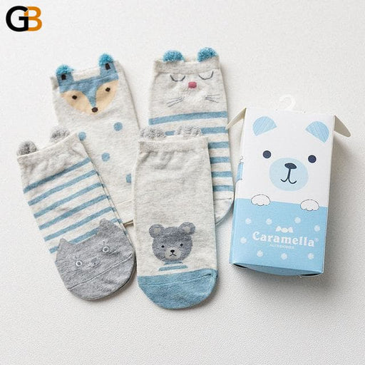 Gift Box Cute Cartoon Pattern Short Cotton Ankle Socks for Women - SolaceConnect.com