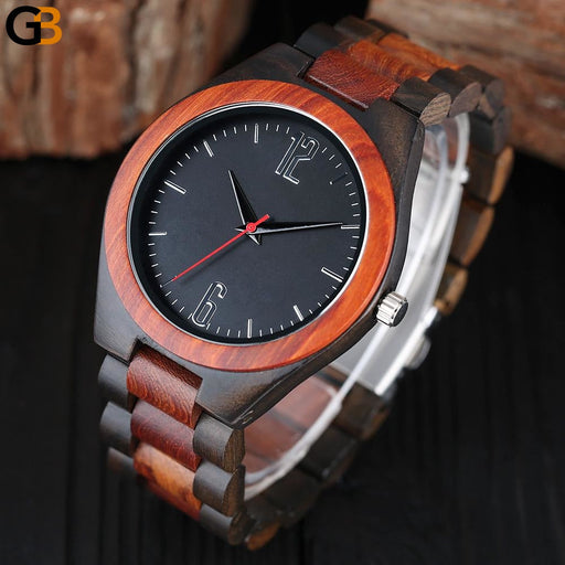 Luxury Gift Full Bamboo Wooden Men's Creative Quartz Wristwatches - SolaceConnect.com