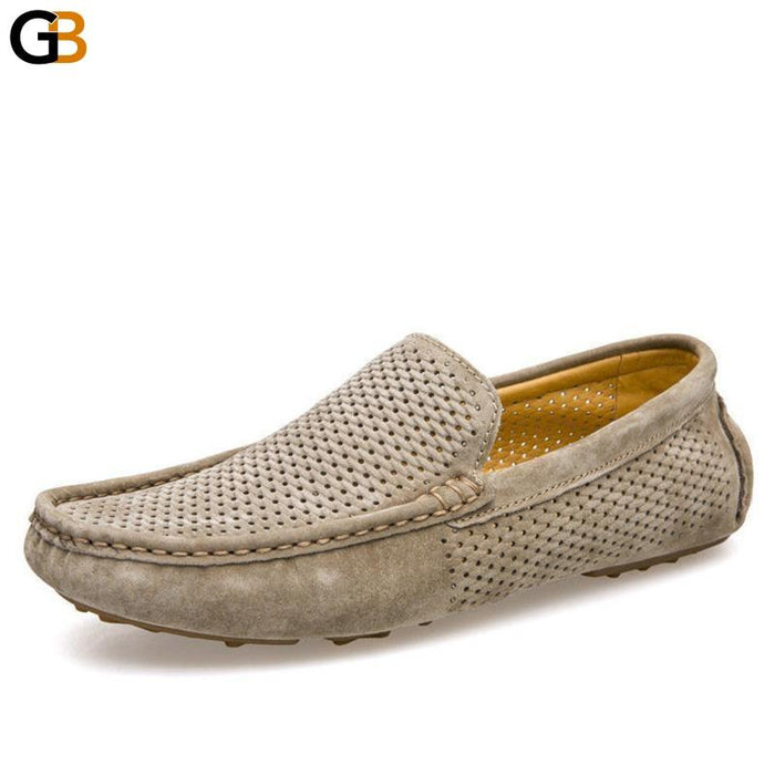 Men's Casual Summer Fashion Genuine Leather Slip On Soft Driving Shoes - SolaceConnect.com