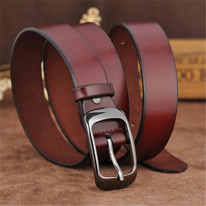 Vintage Fashion Women's Genuine Leather Straps Pin Buckles Waistband Belts - SolaceConnect.com