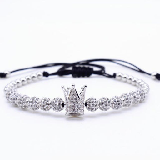Zircon Bracelets Men Jewelry Cubic Micro Pave CZ Crown Charm & 4mm Round Beads Braided Macrame - SolaceConnect.com
