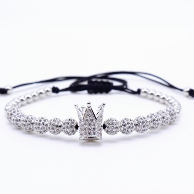 Men's Cubic Micro Pave Crown Charm Zircon Round Beads Braided Bracelet - SolaceConnect.com