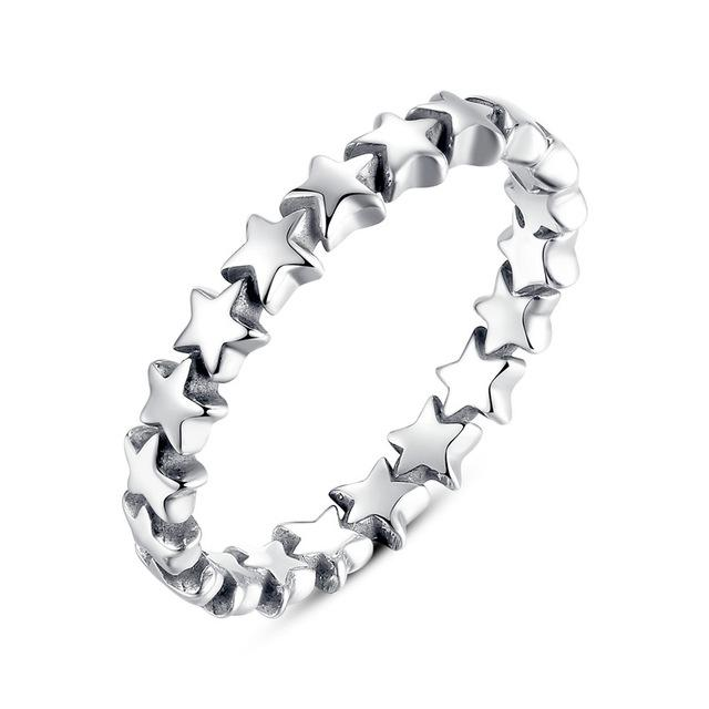 Women's Authentic 925 Sterling Silver Stackable Party Rings in Star Pattern - SolaceConnect.com