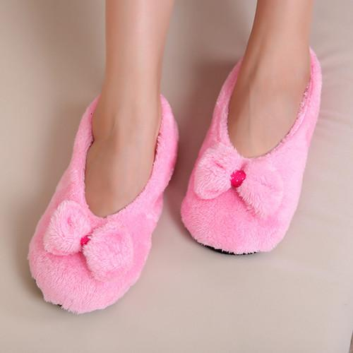 Hot Selling Lovely Big Bowknot Keep Warm Soft Women's Indoor Slippers - SolaceConnect.com