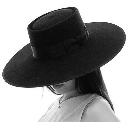Extra Large Porkpie Fedora Black Wool Felt Floppy Wide Brim Hat - SolaceConnect.com