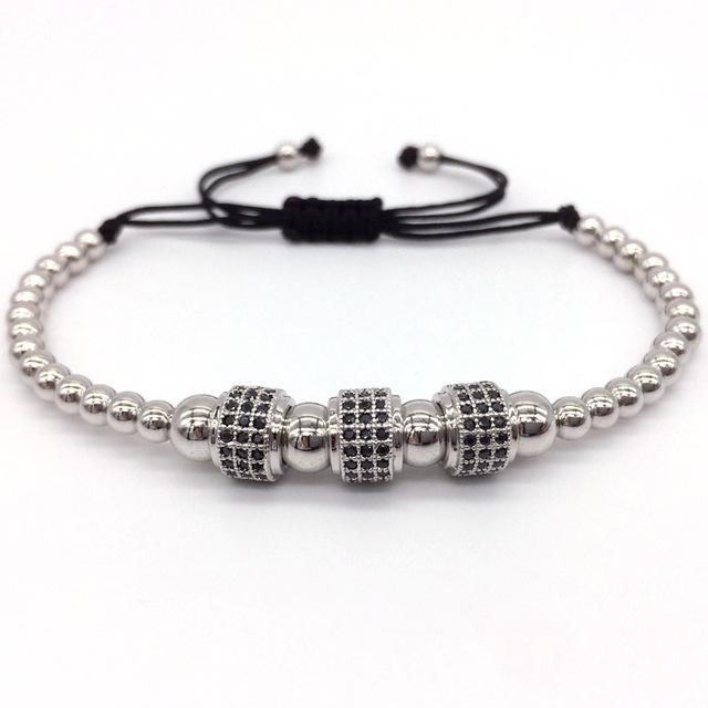 Men's 3 Tube Micro Pave CZ & 4mm Beads Macrame Braided Charm Bracelets - SolaceConnect.com