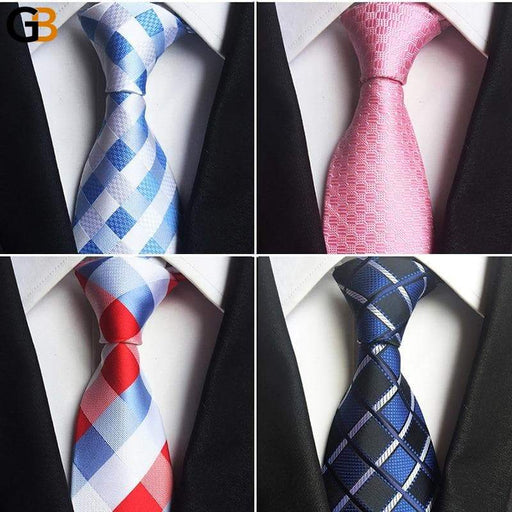 Classic Design 100% Silk Men's 8cm Plaid and Striped Formal Neck Ties - SolaceConnect.com